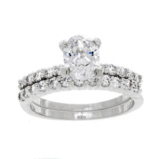 NEXTE Jewelry Silvertone Oval-cut Cubic Zirconia Bridal Set
