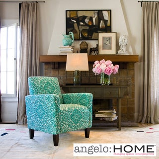 Angelo home sutton modern damask turquoise blue arm chair overstock shopping great deals on Angelo home patio furniture