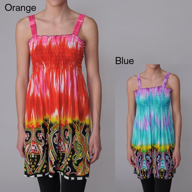 Happie Brand Juniors Paisley Print Tie-dye Sundress