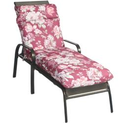 Mia Floral Outdoor Mauve/ Red Chaise Lounge Chair Cushion