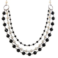 Pearls For You Black and White 3-strand Freshwater Pearl Necklace (6-7 mm)