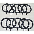 Steel 1.25-inch Flat Black Curtain Rings (Set of 10)