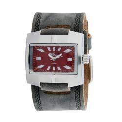 Nemesis Men's Classic Burgundy Leather Cuff Band Quartz Watch