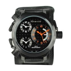 Nemesis Men's Signature 3 Time Zone Orange Black Leather Band Watch