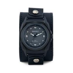 Nemesis Men's Signature Black/ White Eternity Leather Band Watch