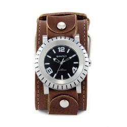 Nemesis Men's Signature Brown Wheel Men Leather Band Watch