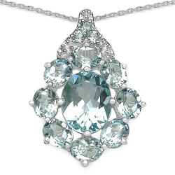 Malaika Sterling Silver Genuine Blue Topaz Necklace