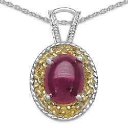 Malaika Two-tone Sterling Silver Oval-cut Ruby Necklace