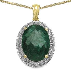 Malaika 14k Gold over Silver Emerald and White Topaz Necklace