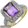 Malaika 14k Gold over Silver Amethyst and White Topaz Ring