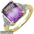 Malaika 14k Gold over Sterling Silver Emerald-cut Gemstone and White Topaz Ring