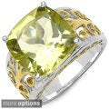 Malaika 14k Gold over Sterling Silver Lemon Topaz or Smokey Quartz Ring