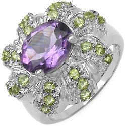 Malaika Sterling Silver Cushion-cut Amethyst and Peridot Ring