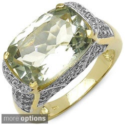 Malaika Sterling Silver Green Amethyst or Smokey Quartz Two-tone Ring