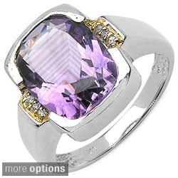 Malaika Sterling Silver Gemstone Two-tone Ring