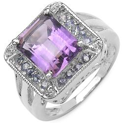 Malaika Sterling Silver Genuine Amethyst, Tanzanite and Topaz Ring