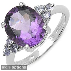 Malaika Sterling Silver Oval-cut Gemstone and Side Stone Ring