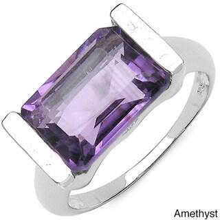 Malaika Sterling Silver Emerald-cut Gemstone Fashion Ring