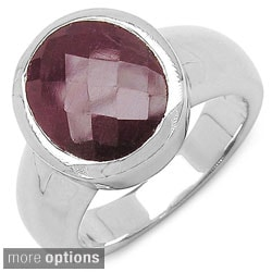 Malaika Sterling Silver Dyed Ruby or Emerald Ring