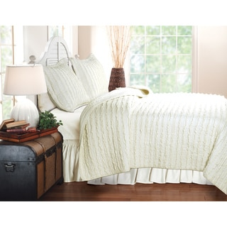 Ruffled Ivory 3-piece Quilt Set