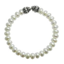 Pearls for You Silver White Freshwater Pearl Bangle Bracelet (7.5-8 mm)
