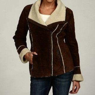 Jones New York Women's Brown Suede Faux-fur Jacket FINAL SALE