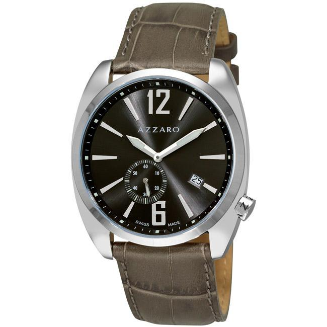Azzaro Men's 'Seventies' Grey Dial Green Strap Small Second Watch