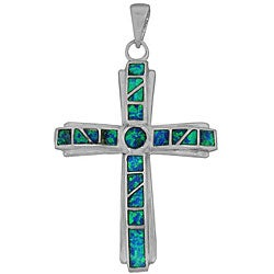 Silver Created Opal Cross Pendant