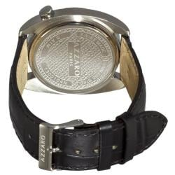 Azzaro Men's 'Seventies' Grey Dial Black Strap Small Second Watch