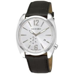 Azzaro Men's 'Seventies' Silver Dial Black Leather Strap Watch
