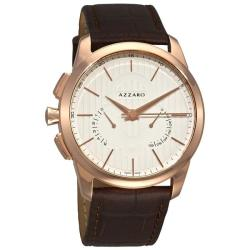 Azzaro Men's 'Legend Chrono' Brown Leather Strap Retrograde Watch
