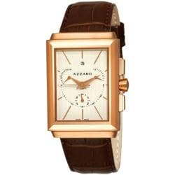 Azzaro Men's 'Legend Rectangular Chrono' White Face Rose PVD Watch