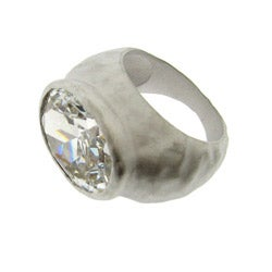 Silvertone Clear Cubic Zirconia Hammered Fashion Ring