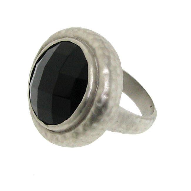 Silvertone Black Cubic Zirconia Hammered Fashion Ring