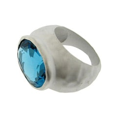 Silvertone Blue Cubic Zirconia Hammered Fashion Ring