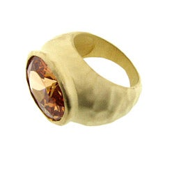 Goldtone Champagne Cubic Zirconia Hammered Fashion Ring