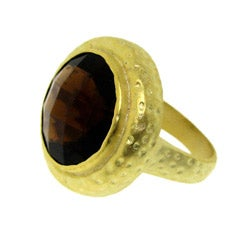 Goldtone Brown Cubic Zirconia Hammered Fashion Ring