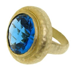 Goldtone Blue Cubic Zirconia Hammered Fashion Ring