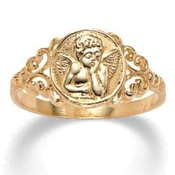 PalmBeach 10k Yellow Gold Angel Relief Ring Tailored