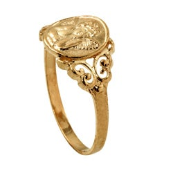 Toscana Collection 10k Yellow Gold Angel Relief Ring