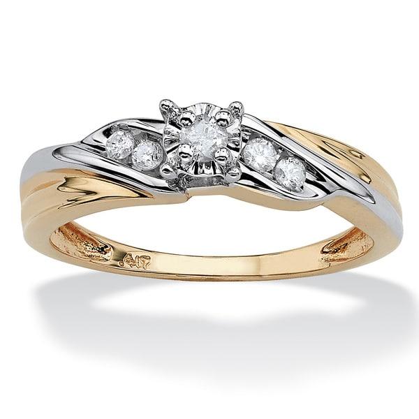 PalmBeach 1/8 TCW Round Diamond Two-Tone Diagonal Engagement Ring in 10k Yellow Gold