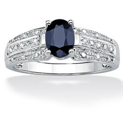 PalmBeach 10k White Gold Sapphire and Diamond Accent Ring (H-I, I2-I3)
