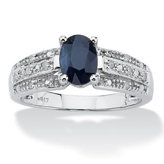 PalmBeach 1.42 TCW Oval Cut Blue Genuine Sapphire Diamond Accent 10k White Gold Ring