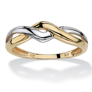 PalmBeach 10k Yellow Gold Two-Tone Twist Ring Tailored