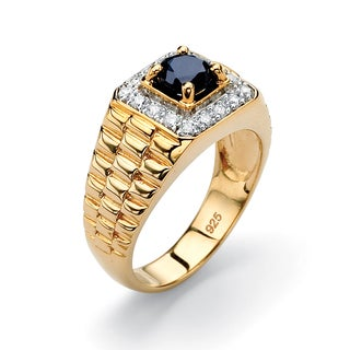 PalmBeach Men's 1.39 Carat Genuine Midnight Blue Sapphire 18k Gold over Sterling Silver Classic Ring