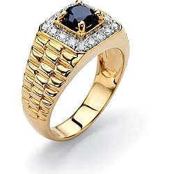 PalmBeach CZ 18k Gold over Silver Sapphire and Cubic Zirconia Ring Men's