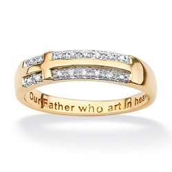Isabella Collection 10k Gold Diamond Accent Lord's Prayer Cross Ring