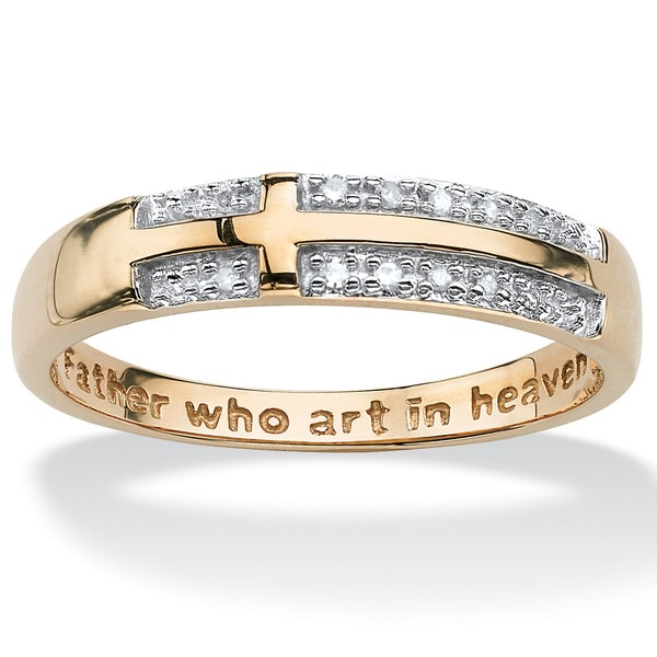 PalmBeach 10k Gold Diamond Accent Lord's Prayer Cross Ring