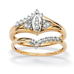 PalmBeach 10k Gold 1/10ct TDW Marquise 2-Piece Diamond Ring Set (G-H, I2-I3)