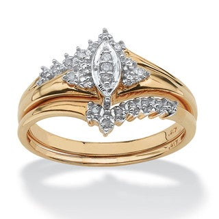 PalmBeach 1/10 TCW Round Diamond 10k Yellow Gold Bridal Engagement Wedding Marquise-Shaped Ring Set